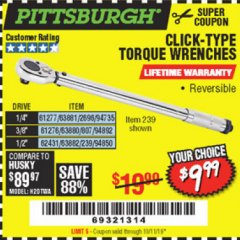 Harbor Freight Coupon CLICK-TYPE TORQUE WRENCHES Lot No. 61277/2696/63881/94735/61276/807/63880/94892/62431/239/63882/94850 Valid Thru: 10/11/19 - $9.99