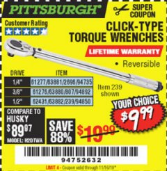 Harbor Freight Coupon CLICK-TYPE TORQUE WRENCHES Lot No. 61277/2696/63881/94735/61276/807/63880/94892/62431/239/63882/94850 Valid Thru: 11/16/19 - $9.99