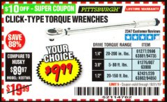 Harbor Freight Coupon CLICK-TYPE TORQUE WRENCHES Lot No. 61277/2696/63881/94735/61276/807/63880/94892/62431/239/63882/94850 Valid Thru: 10/31/19 - $9.99