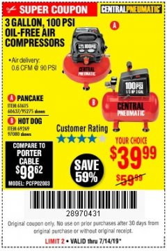 Harbor Freight Coupon 3 GALLON, 100 PSI HOT DOG OIL-FREE AIR COMPRESSOR Lot No. 69269/97080 Expired: 7/14/19 - $39.99