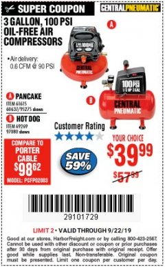 Harbor Freight Coupon 3 GALLON, 100 PSI HOT DOG OIL-FREE AIR COMPRESSOR Lot No. 69269/97080 Valid Thru: 9/22/19 - $39.99