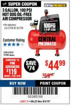 Harbor Freight Coupon 3 GALLON, 100 PSI HOT DOG OIL-FREE AIR COMPRESSOR Lot No. 69269/97080 Expired: 8/4/19 - $44.99
