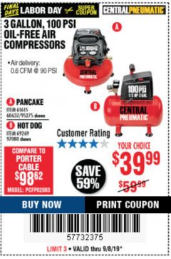 Harbor Freight Coupon 3 GALLON, 100 PSI HOT DOG OIL-FREE AIR COMPRESSOR Lot No. 69269/97080 Expired: 9/8/19 - $39.99