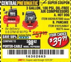 Harbor Freight Coupon 3 GALLON, 100 PSI HOT DOG OIL-FREE AIR COMPRESSOR Lot No. 69269/97080 Valid Thru: 7/31/20 - $39.99