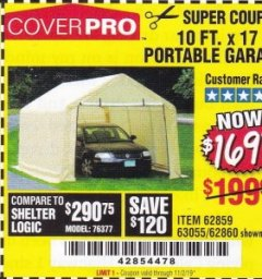 Harbor Freight Coupon 10 FT. X 17FT. PORTABLE GARAGE Lot No. 62859/63055/62860 Expired: 11/2/19 - $169.99