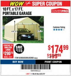 Harbor Freight Coupon 10 FT. X 17FT. PORTABLE GARAGE Lot No. 62859/63055/62860 Expired: 8/25/19 - $174.99