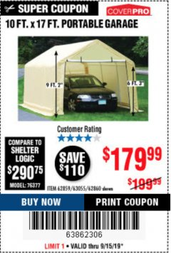 Harbor Freight Coupon 10 FT. X 17FT. PORTABLE GARAGE Lot No. 62859/63055/62860 Expired: 9/15/19 - $179.99