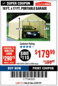 Harbor Freight Coupon 10 FT. X 17FT. PORTABLE GARAGE Lot No. 62859/63055/62860 Expired: 9/29/19 - $179.99