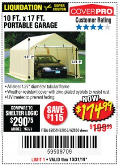 Harbor Freight Coupon 10 FT. X 17FT. PORTABLE GARAGE Lot No. 62859/63055/62860 Expired: 10/31/19 - $174.99