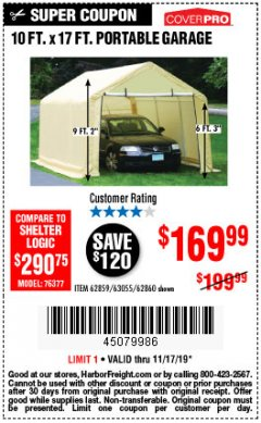 Harbor Freight Coupon 10 FT. X 17FT. PORTABLE GARAGE Lot No. 62859/63055/62860 Expired: 11/17/19 - $169.99