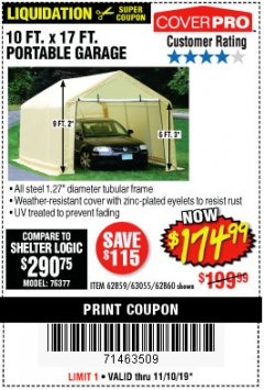 Harbor Freight Coupon 10 FT. X 17FT. PORTABLE GARAGE Lot No. 62859/63055/62860 Expired: 11/10/19 - $174.99