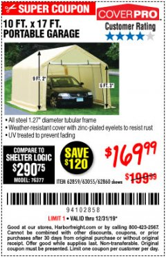 Harbor Freight Coupon 10 FT. X 17FT. PORTABLE GARAGE Lot No. 62859/63055/62860 Expired: 12/31/19 - $169.99