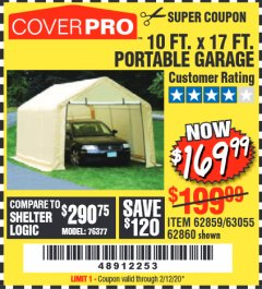 Harbor Freight Coupon 10 FT. X 17FT. PORTABLE GARAGE Lot No. 62859/63055/62860 Expired: 2/12/20 - $169.99