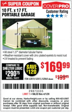 Harbor Freight Coupon 10 FT. X 17FT. PORTABLE GARAGE Lot No. 62859/63055/62860 Expired: 4/1/20 - $169.99