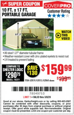 Harbor Freight Coupon 10 FT. X 17FT. PORTABLE GARAGE Lot No. 62859/63055/62860 Expired: 3/8/20 - $159.99