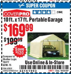 Harbor Freight Coupon COVERPRO 10 FT. X 17 FT. PORTABLE GARAGE Lot No. 62859, 63055, 62860 Expired: 10/23/20 - $169.99