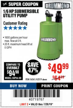 Harbor Freight Coupon 1/6 HP SUBMERSIBLE UTILITY PUMP Lot No. 56361/63319 Valid Thru: 7/28/19 - $49.99