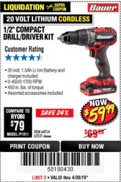 Harbor Freight Coupon 20V HYPERMAX LITHIUM 1/2 IN. DRILL/DRIVER KIT Lot No. 63531 Expired: 4/30/19 - $59.99