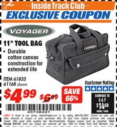 "Harbor Freight ITC Coupon 11"" TOOL BAG Lot No. 61168/35539/61835 Expired: 8/31/18 - $4.99"
