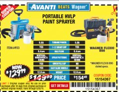 Harbor Freight Coupon AVANTI PVLP PORTABLE AIRLESS PAINT SPRAYER Lot No. 64933 Expired: 6/30/19 - $129.99