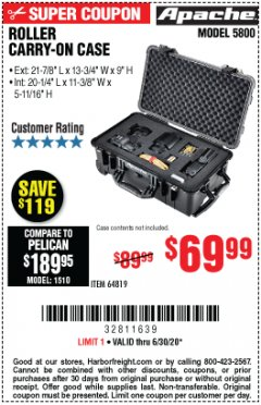 Harbor Freight Coupon APACHE 5800 ROLLER CARRY ON CASE Lot No. 64819 Valid Thru: 6/30/20 - $69.99