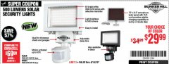 Harbor Freight Coupon 500 LUMENS LED SOLAR SECURITY LIGHT Lot No. 56408/64759/56213/64737 Expired: 4/14/19 - $29.99