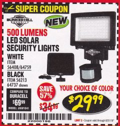 Harbor Freight Coupon 500 LUMENS LED SOLAR SECURITY LIGHT Lot No. 56408/64759/56213/64737 Valid Thru: 8/31/19 - $29.99