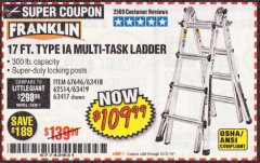 Harbor Freight Coupon 17 FOOT TYPE IA MUTI TASK LADDER Lot No. 67646/63418/63419/63417 Expired: 10/31/19 - $109.99