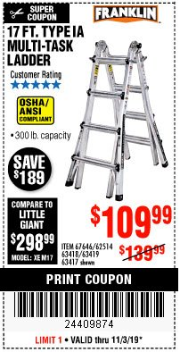 Harbor Freight Coupon 17 FOOT TYPE IA MUTI TASK LADDER Lot No. 67646/63418/63419/63417 Expired: 11/3/19 - $109.99