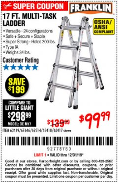 Harbor Freight Coupon 17 FOOT TYPE IA MUTI TASK LADDER Lot No. 67646/63418/63419/63417 Expired: 12/31/19 - $99.99