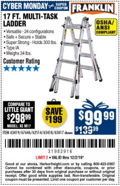 Harbor Freight Coupon 17 FOOT TYPE IA MUTI TASK LADDER Lot No. 67646/63418/63419/63417 Expired: 12/1/19 - $99.99