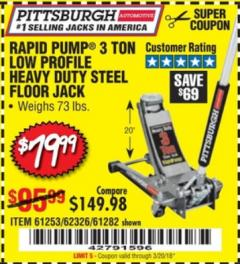 Harbor Freight Coupon RAPID PUMP 3 TON LOW PROFILE HEAVY DUTY STEEL FLOOR JACK Lot No. 68049/62326/62670/61253/61282 Expired: 3/20/18 - $79.99
