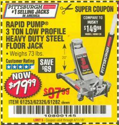 Harbor Freight Coupon RAPID PUMP 3 TON LOW PROFILE HEAVY DUTY STEEL FLOOR JACK Lot No. 68049/62326/62670/61253/61282 Valid: 1/24/18 4/11/18 - $79.99