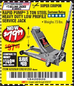 Harbor Freight Coupon RAPID PUMP 3 TON LOW PROFILE HEAVY DUTY STEEL FLOOR JACK Lot No. 68049/62326/62670/61253/61282 Valid Thru: 9/30/18 - $79.99