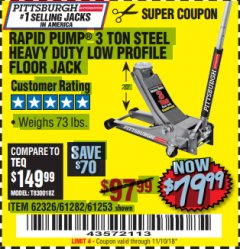Harbor Freight Coupon RAPID PUMP 3 TON LOW PROFILE HEAVY DUTY STEEL FLOOR JACK Lot No. 68049/62326/62670/61253/61282 Valid Thru: 11/10/18 - $79.99