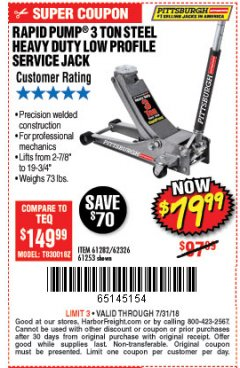 Harbor Freight Coupon RAPID PUMP 3 TON LOW PROFILE HEAVY DUTY STEEL FLOOR JACK Lot No. 68049/62326/62670/61253/61282 Valid Thru: 7/31/18 - $79.99