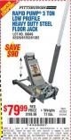 Harbor Freight Coupon RAPID PUMP 3 TON LOW PROFILE HEAVY DUTY STEEL FLOOR JACK Lot No. 68049/62326/62670/61253/61282 Expired: 7/22/15 - $79.99