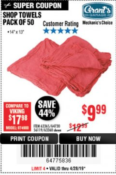 Harbor Freight Coupon MECHANICS SHOP TOWELS Lot No. 56119/64730/63365/63360 Expired: 4/28/19 - $9.99