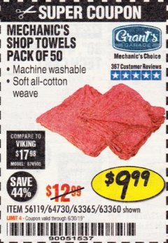 Harbor Freight Coupon MECHANICS SHOP TOWELS Lot No. 56119/64730/63365/63360 Expired: 6/30/19 - $9.99