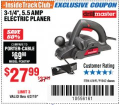 "Harbor Freight ITC Coupon 3-1/4"" ELECTRIC PLANER Lot No. 61691/91062 Expired: 4/2/19 - $27.99"