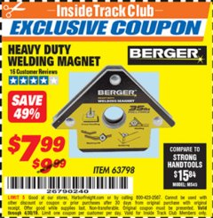 Harbor Freight ITC Coupon HEAVY DUTY WELDING MAGNET Lot No. 63798 Expired: 4/30/19 - $7.99