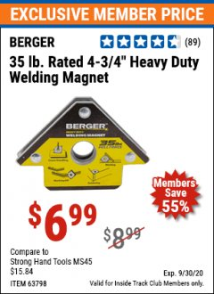 Harbor Freight ITC Coupon HEAVY DUTY WELDING MAGNET Lot No. 63798 Valid Thru: 9/30/20 - $6.99