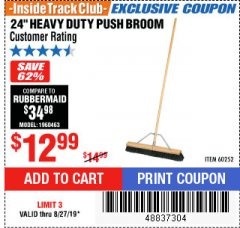"Harbor Freight ITC Coupon 24"" HEAVY DUTY PUSH BROOM Lot No. 94721/60252 Expired: 8/27/19 - $12.99"