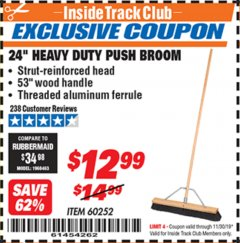 "Harbor Freight ITC Coupon 24"" HEAVY DUTY PUSH BROOM Lot No. 94721/60252 Expired: 11/30/19 - $12.99"
