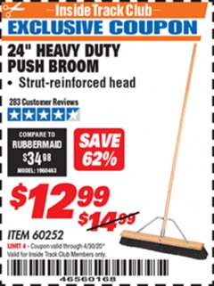 "Harbor Freight ITC Coupon 24"" HEAVY DUTY PUSH BROOM Lot No. 94721/60252 Expired: 4/30/20 - $12.99"