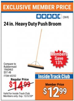 "Harbor Freight ITC Coupon 24"" HEAVY DUTY PUSH BROOM Lot No. 94721/60252 Expired: 12/3/20 - $12.99"