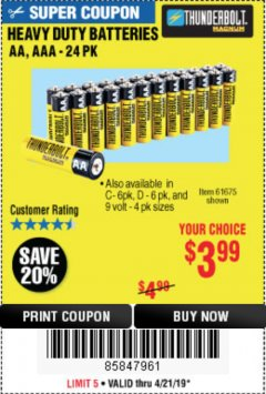 Harbor Freight Coupon HEAVY DUTY BATTERIES Lot No. 61273/61275/61675/68383/61274 Expired: 4/21/19 - $3.99