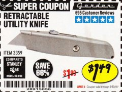 Harbor Freight Coupon RETRACTABLE UTILITY KNIFE Lot No. 3359 Expired: 6/30/19 - $1.49