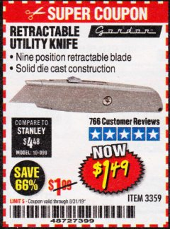Harbor Freight Coupon RETRACTABLE UTILITY KNIFE Lot No. 3359 Valid Thru: 8/31/19 - $1.49