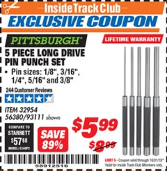Harbor Freight ITC Coupon 5 PIECE LONG DRIVE PIN PUNCH SET Lot No. 93111 Expired: 10/31/19 - $5.99